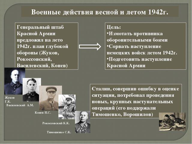 Военные действия весной и летом 1942г. Генеральный штаб Красной Армии предлож...