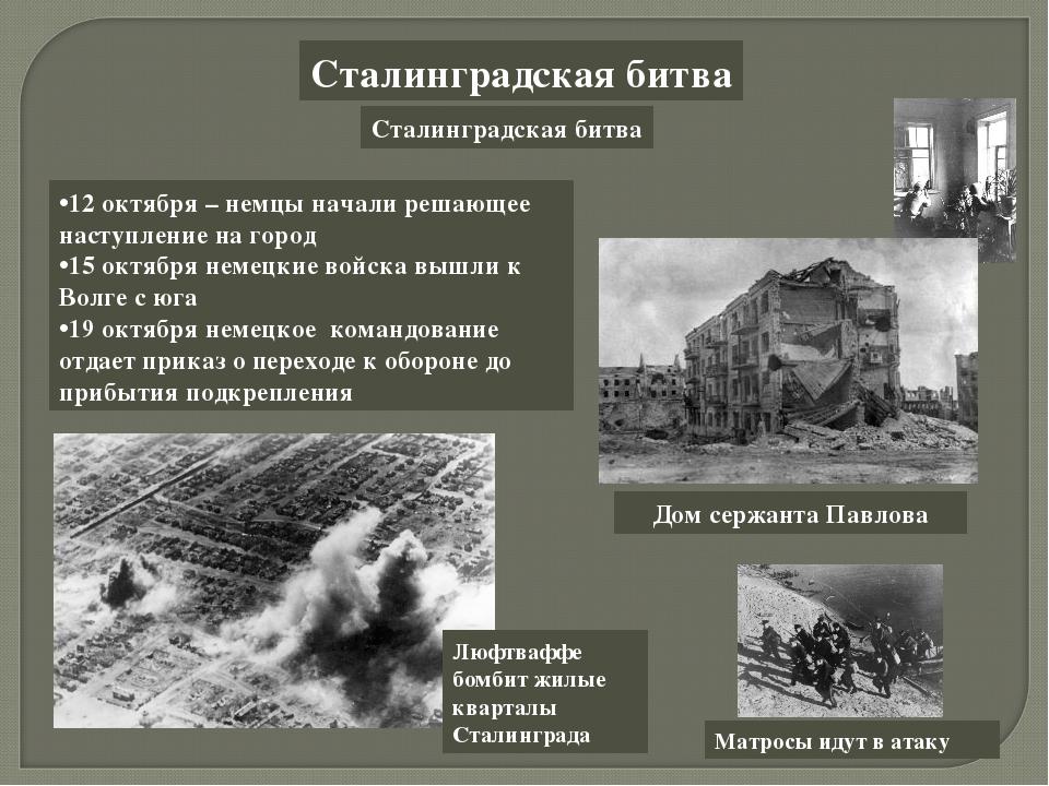 Сталинградская битва Сталинградская битва 12 октября – немцы начали решающее...