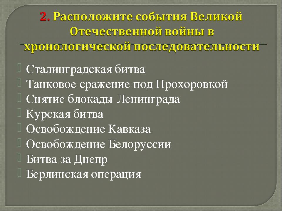Сталинградская битва Танковое сражение под Прохоровкой Снятие блокады Ленингр...