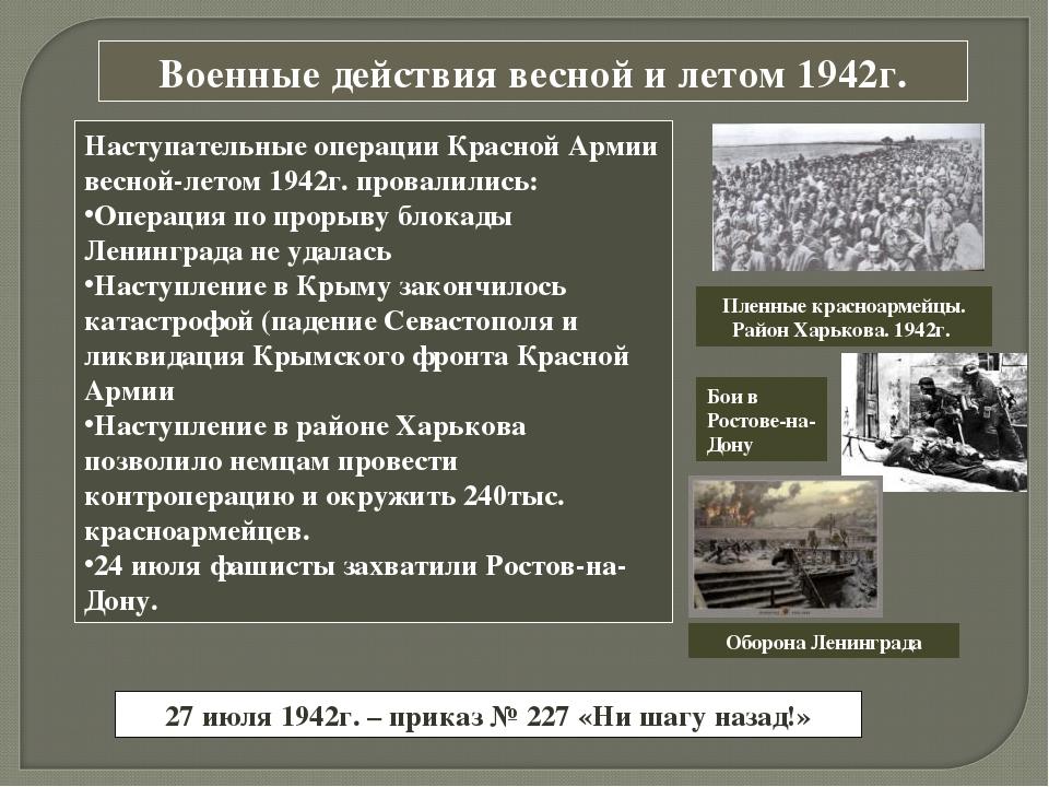Военные действия весной и летом 1942г. Наступательные операции Красной Армии...