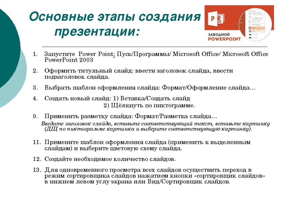 Основные этапы создания презентации: Запустите Power Point: Пуск/Программы/ M...