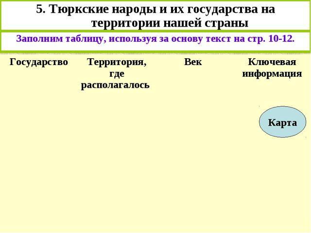 5. Тюркские народы и их государства на территории нашей страны Заполним табли...