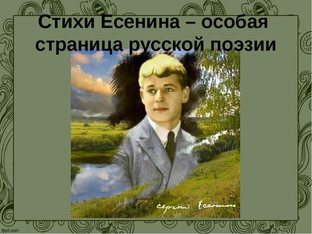 Стихи Есенина – особая страница русской поэзии