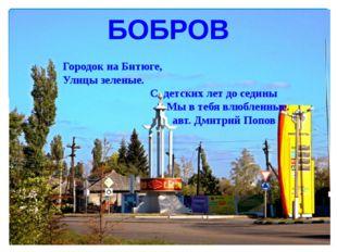 БОБРОВ Городок на Битюге, Улицы зеленые. С детских лет до седины Мы в тебя в