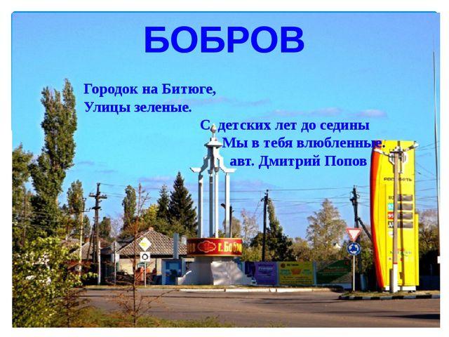 БОБРОВ Городок на Битюге, Улицы зеленые. С детских лет до седины Мы в тебя в...