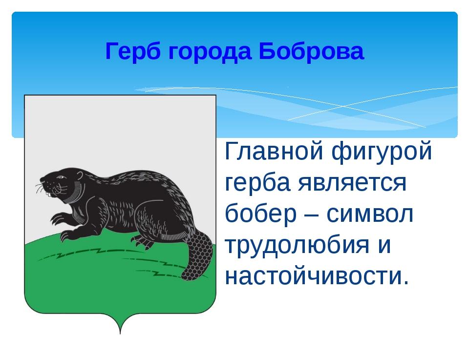 Главной фигурой герба является бобер – символ трудолюбия и настойчивости. Гер...