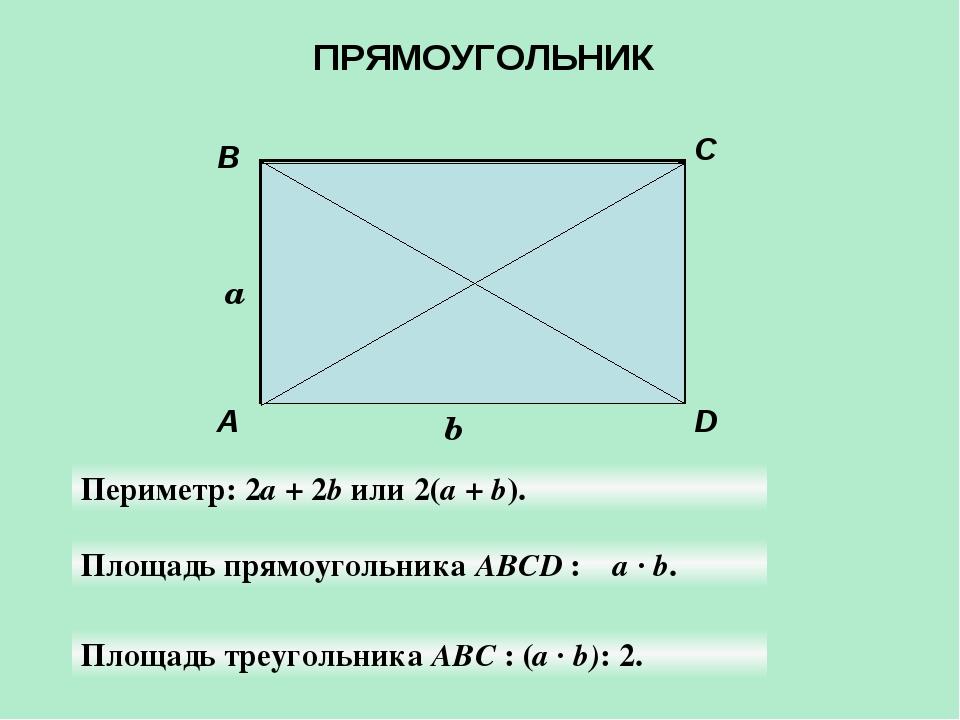 A B C D a b Периметр: 2а + 2b или 2(а + b). Площадь прямоугольника АBCD : а ·...