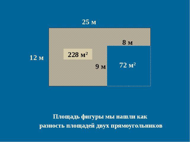 12 м 25 м 300 м2 8 м 9 м 72 м2 228 м2 Площадь фигуры мы нашли как разность пл...