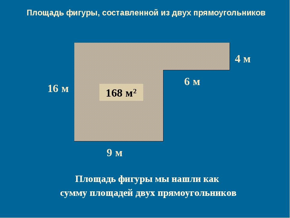 144 м2 24 м2 168 м2 Площадь фигуры мы нашли как сумму площадей двух прямоугол...