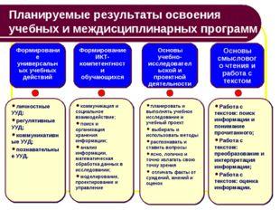 Планируемые результаты освоения учебных имеждисциплинарных программ Формиров