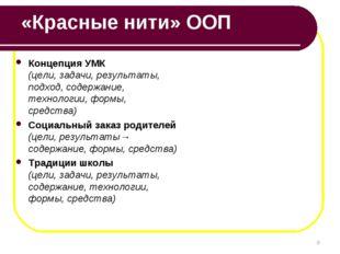 «Красные нити» ООП Концепция УМК (цели, задачи, результаты, подход, содержани