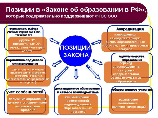 Позиции в «Законе об образовании в РФ», которые содержательно поддерживают ФГ...