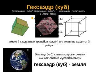 гексаэдр (куб) - земля Гексаэдр (куб) символизировал землю, так как самый «ус