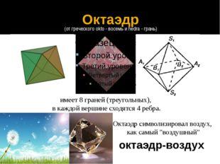 октаэдр-воздух имеет 8 граней (треугольных), в каждой вершине сходятся 4 ребр