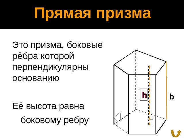 Боковая поверхность прямой призмы Теорема: Боковая поверхность прямой призмы...