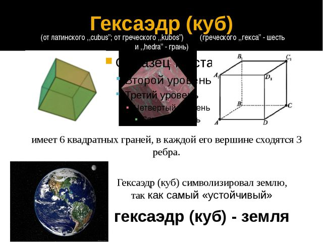 гексаэдр (куб) - земля Гексаэдр (куб) символизировал землю, так как самый «ус...