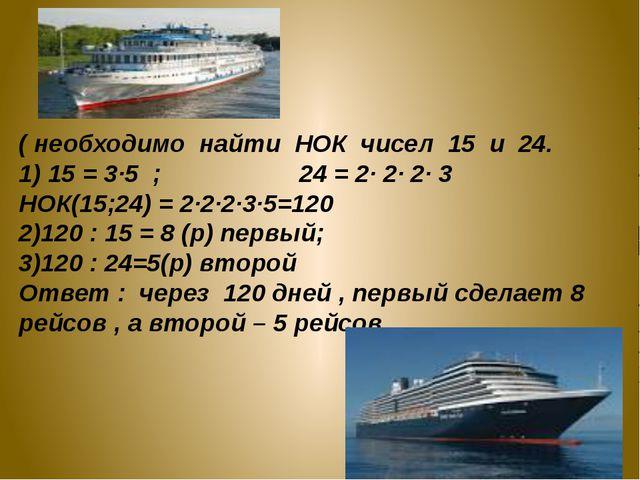 ( необходимо найти НОК чисел 15 и 24. 1) 15 = 3·5 ; 24 = 2· 2· 2· 3 НОК(15;24...