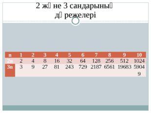 2 және 3 сандарының дәрежелері n 1 2 3 4 5 6 7 8 9 10 2n 2 4 8 16 32 64 128 2
