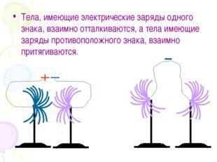 Тела, имеющие электрические заряды одного знака, взаимно отталкиваются, а тел