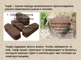 Торф – горная порода органического происхождения, ценное химическое сырьё и т