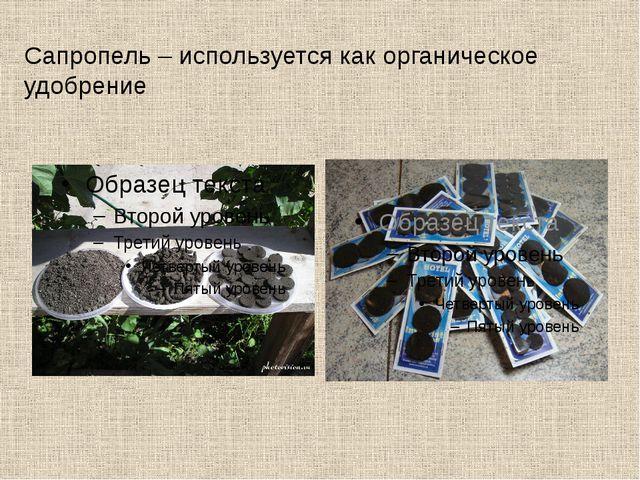 Сапропель – используется как органическое удобрение