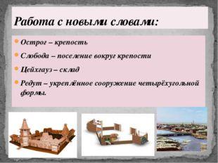 Острог – крепость Слобода – поселение вокруг крепости Цейхгауз – склад Редут