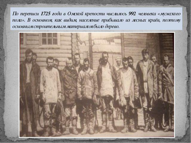По переписи 1725 года в Омской крепости числилось 992 человека «мужского пола...