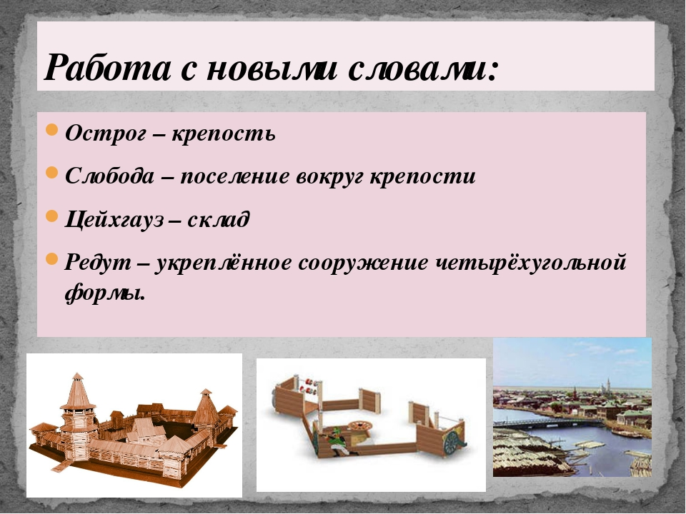 Острог – крепость Слобода – поселение вокруг крепости Цейхгауз – склад Редут...