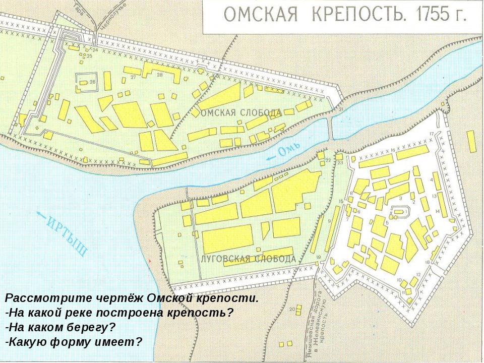 Рассмотрите чертёж Омской крепости. -На какой реке построена крепость? -На ка...