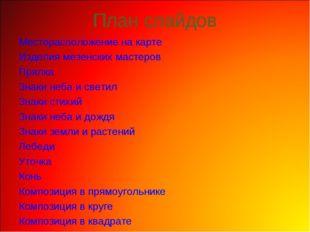 План слайдов Месторасположение на карте Изделия мезенских мастеров Прялка Зна