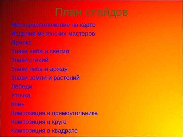 План слайдов Месторасположение на карте Изделия мезенских мастеров Прялка Зна...
