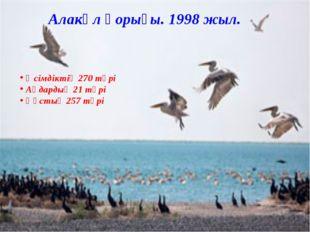 Өсімдіктің 270 түрі Аңдардың 21 түрі Құстың 257 түрі Алакөл қорығы. 1998 жыл.