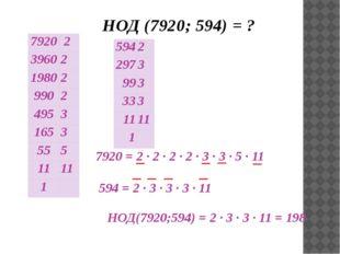 НОД (7920; 594) = ? НОД(7920;594) = 2 ∙ 3 ∙ 3 · 11 = 198 7920 = 2 ∙ 2 ∙ 2 ·