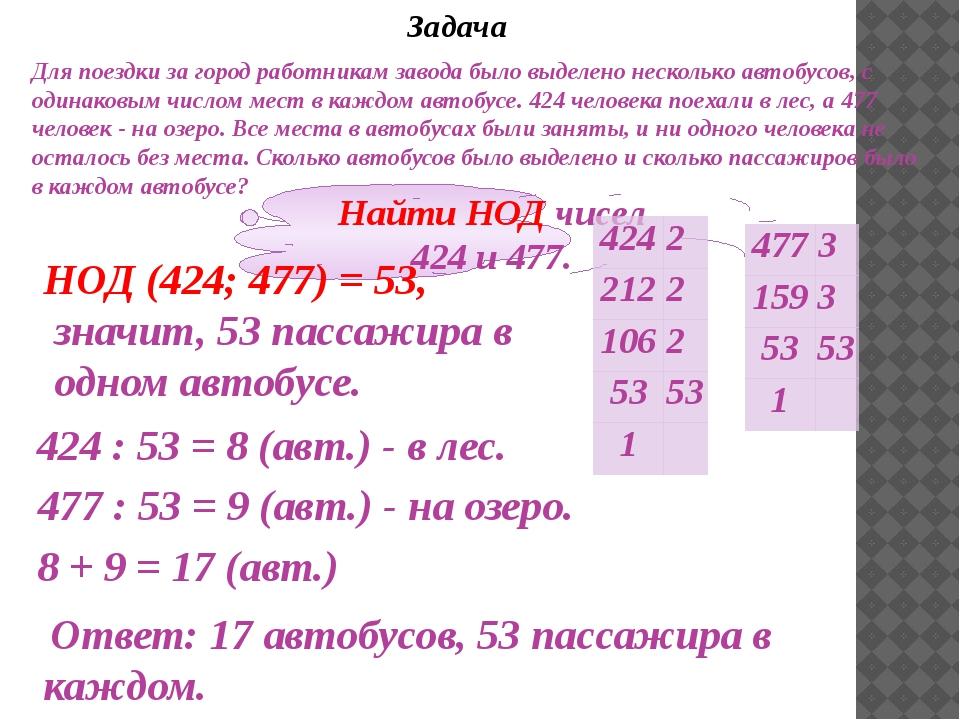 Задача Найти НОД чисел 424 и 477. НОД (424; 477) = 53, значит, 53 пассажира в...
