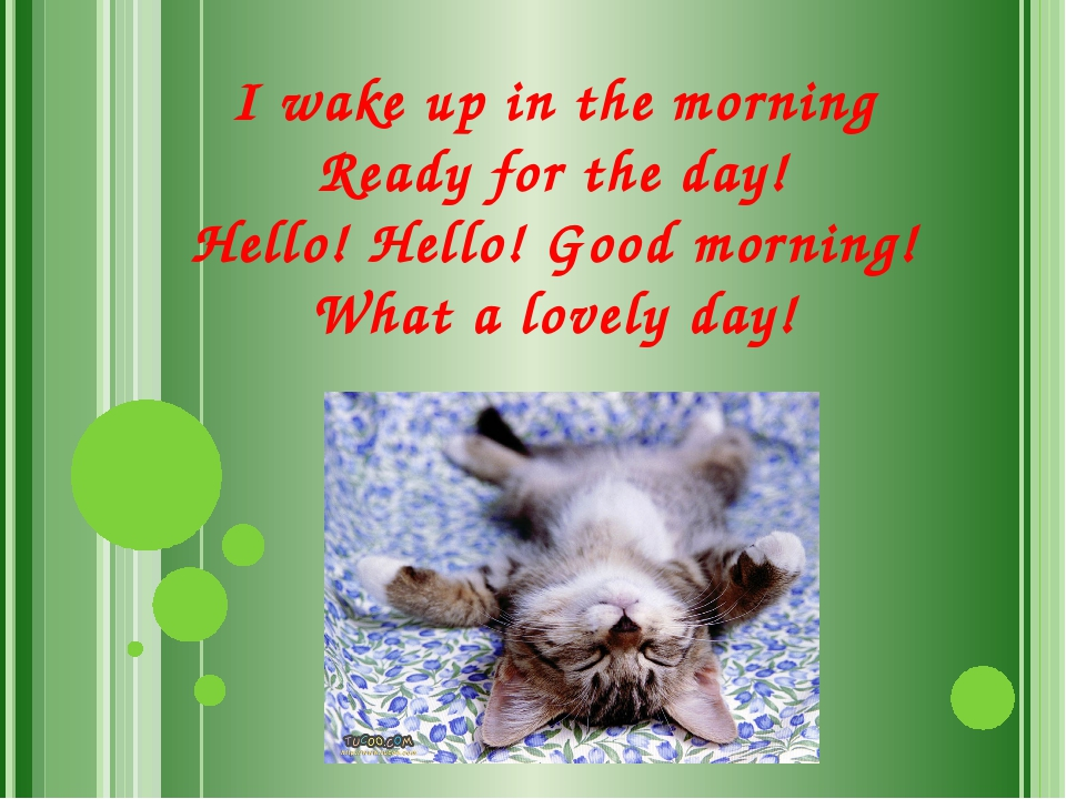 I wake up in the morning Ready for the day! Hello! Hello! Good morning! What...