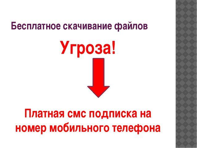 Бесплатное скачивание файлов Угроза! Платная смс подписка на номер мобильного...
