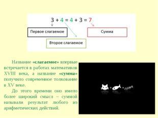 Название «слагаемое» впервые встречается в работах математиков XVIII века, а