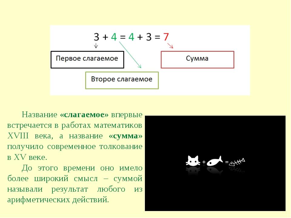 Название «слагаемое» впервые встречается в работах математиков XVIII века, а...