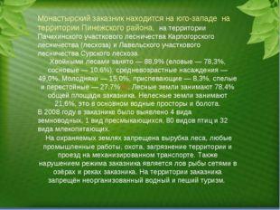 Монастырский заказник находится на юго-западена территории Пинежского район