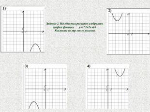 Задание 2. На одном из рисунков изображен график функции у=x^2+7x+16 Укажите