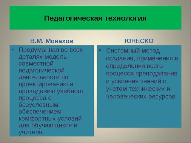 Педагогическая технология В.М. Монахов Продуманная во всех деталях модель сов...