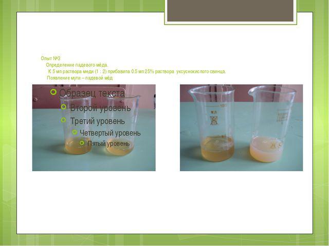 Опыт №3 Определение падевого мёда. К 5 мл раствора меди (1 : 2) прибавила 0.5...