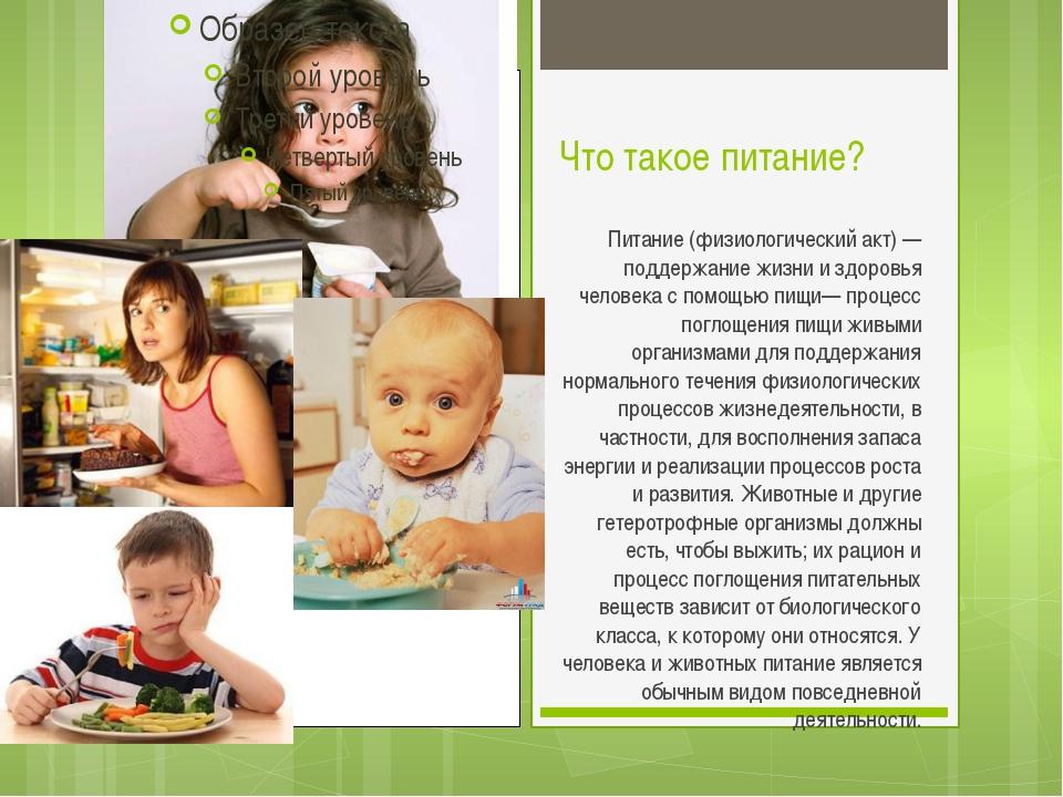 Что такое питание? Питание (физиологический акт) — поддержание жизни и здоров...