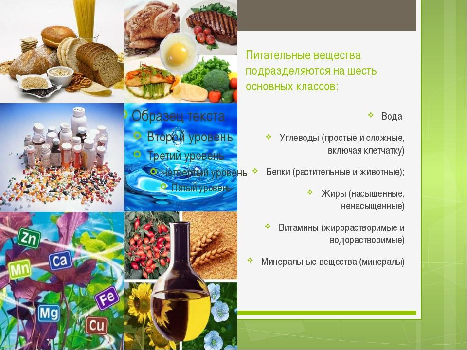 Питательные вещества подразделяются на шесть основных классов: Вода Углеводы...