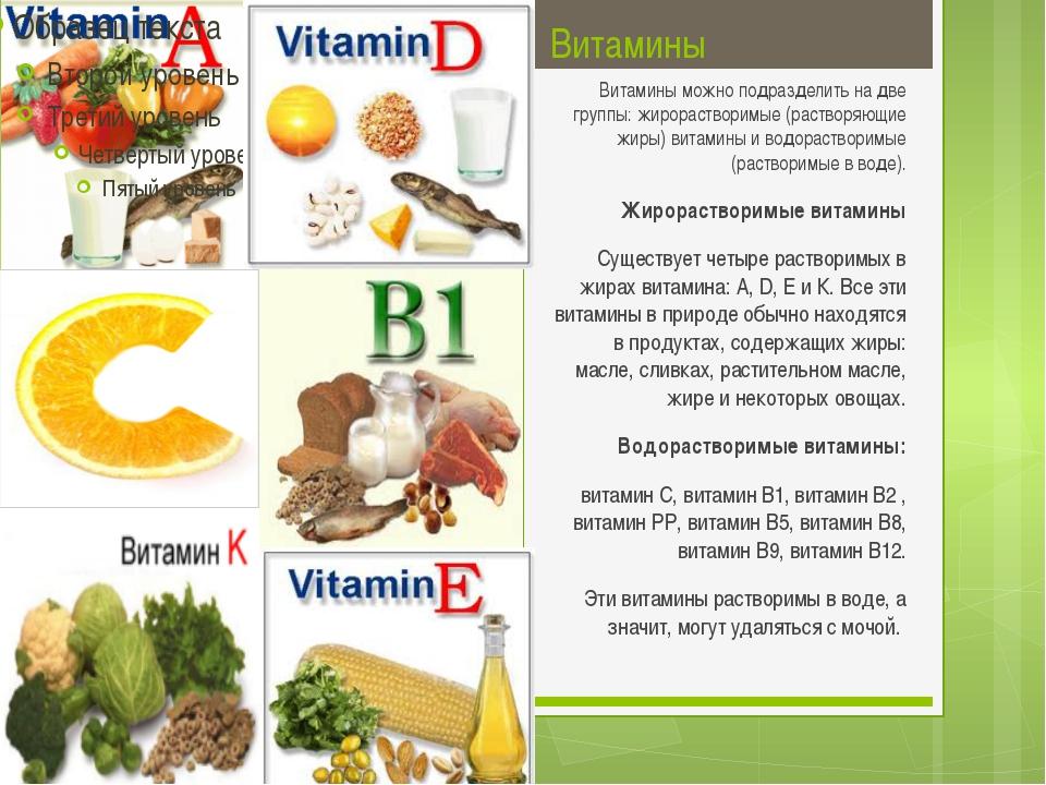 Витамины Витамины можно подразделить на две группы: жирорастворимые (растворя...