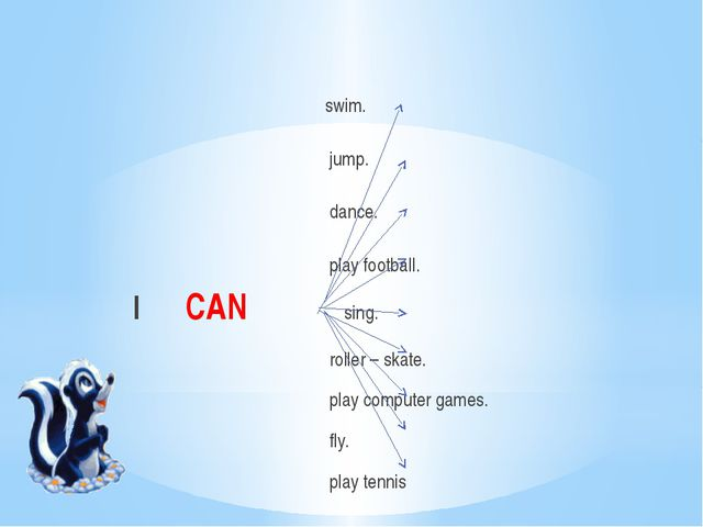swim. jump. dance. play football. I CAN sing. roller – skate. play computer...