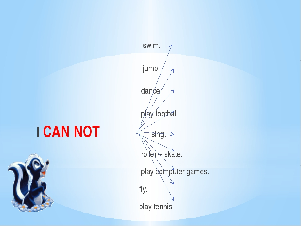 swim. jump. dance. play football. I CAN NOT sing. roller – skate. play compu...