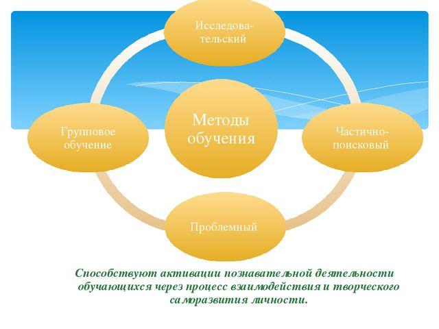 Способствуют активации познавательной деятельности обучающихся через процесс...