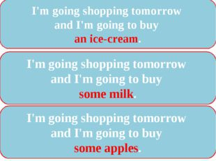 I'm going shopping tomorrow and I'm going to buy an ice-cream. I'm going shop