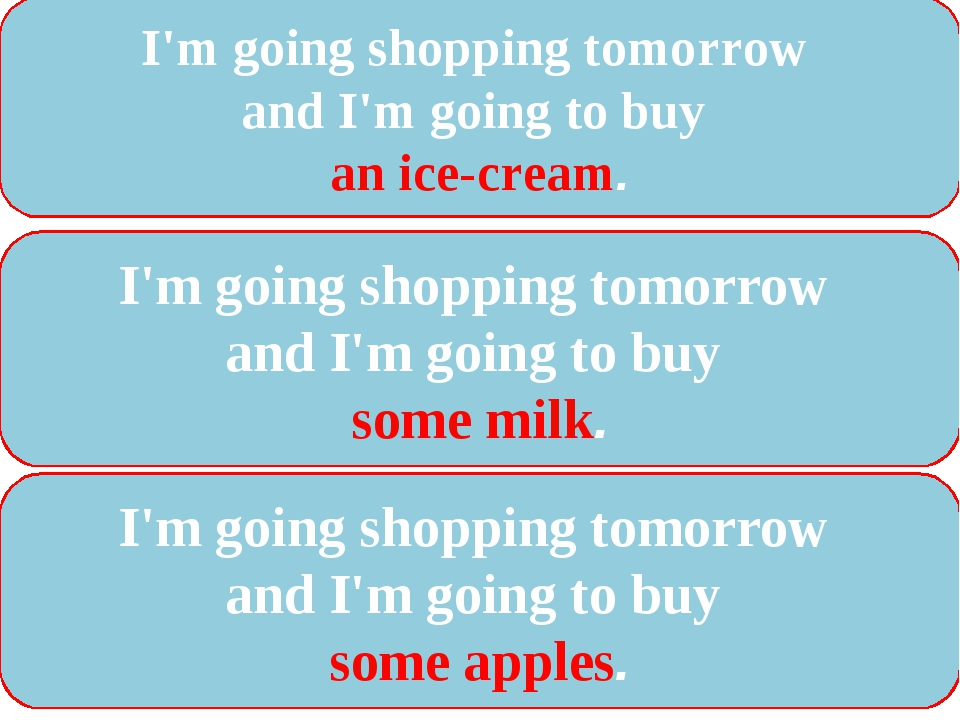 I'm going shopping tomorrow and I'm going to buy an ice-cream. I'm going shop...